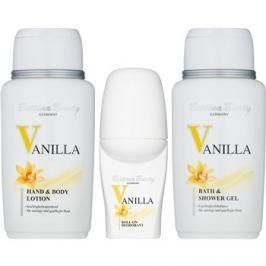 Bettina Barty Classic Vanilla ajándékszett III.  tusoló- és fürdő olaj 150 ml + golyós dezodor 50 ml + testápoló tej 150 ml + kozmetikai táska 1 ks