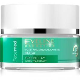 Eveline Cosmetics FaceMed+ tisztító és kisimító arcmaszk zöld agyaggal  50 ml