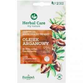 Farmona Herbal Care Argan Oil tápláló maszk száraz és nagyon száraz bőrre  2 x 5 ml