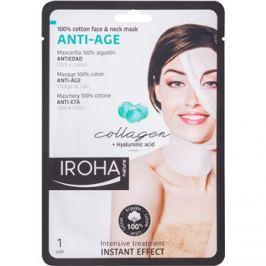 Iroha Anti - Age Collagen pamut maszk arcra és nyakra kollagénnel és hialuron szérummal