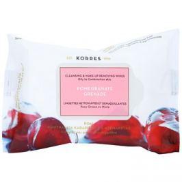 Korres Face Pomegranate tisztító törlőkendő kombinált és zsíros bőrre  25 db