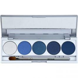 Kryolan Basic Eyes 5 színt tartalmazó szemhéjfesték paletta  tükörrel és aplikátorral árnyalat Helsinki Matt/Iridescent 7,5 g