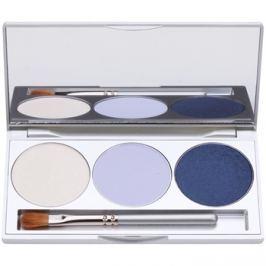 Kryolan Basic Eyes szemhéjfesték paletták tükörrel és aplikátorral árnyalat Smokey Blue 7,5 g
