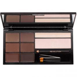 Makeup Revolution Ultra Brow paletta a szemöldök sminkeléséhez árnyalat Medium to Dark  18 g