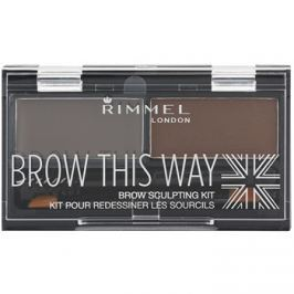 Rimmel Brow This Way paletta a szemöldök sminkeléséhez Dark Brown 2,4 g