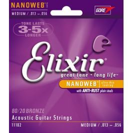 Elixir 11102 Acoustic NANOWEB 80/20 Bronze Medium