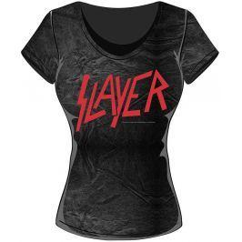 Rock Off Slayer Classic Logo Acid Wash Ladies T Shirt: L