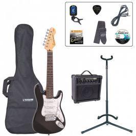 Encore EBP-E375BLK 3/4 Size Electric Guitar Outfit Gloss Black