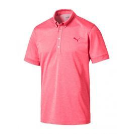 Puma Mens Tailored Oxford Heather Polo Paradise Pink Heather S