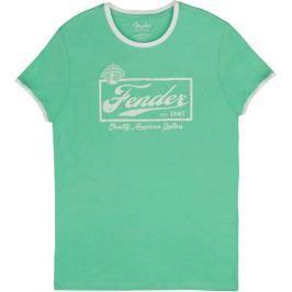 Fender Beer Label Ringer T Sea Foam Green White S