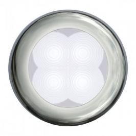 Hella White LED Round Courtesy Lamp 12V Slim Line Polished stainless steel rim