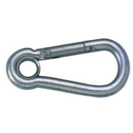 Osculati Carabiner hook polished AISI 316 w. eye 10 mm