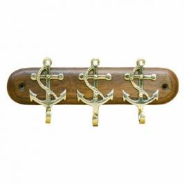 Sea-club Keyholder 3 anchors - brass on wooden plate