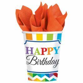 Amscan Poharak - színes születésnap 8 db