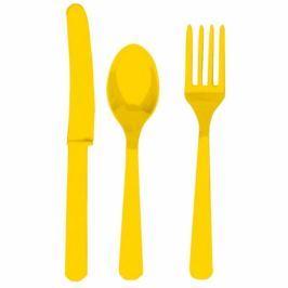 Amscan Evőeszköz - sárga, 8 főre