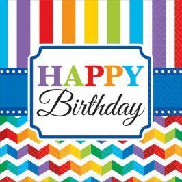 Amscan Szalvéták - színes születésnap 16 db