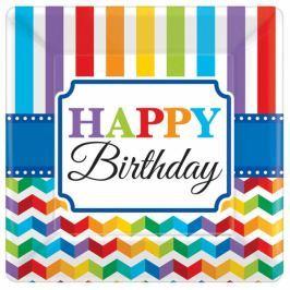 Amscan Négyszögletű tányérok - színes születésnap 8 db