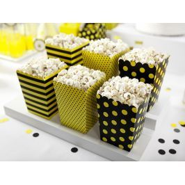 PartyDeco Dekoratív popcorn boxok - Méhecske 6 db