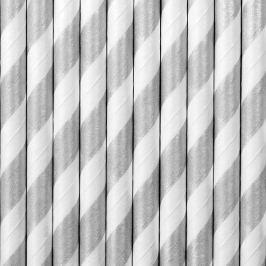PartyDeco Papír szívószálak - ezüst 10 db