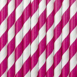 PartyDeco Papír szívószálak - sötét rózsaszín 10 db