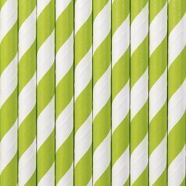 PartyDeco Papír szívószálak - zöld 10 db
