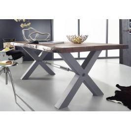 DARKNESS Étkezőasztal 220x110cm X-lábak - ezüst
