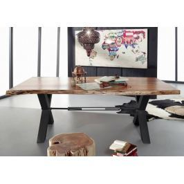 DARKNESS Étkezőasztal 200x110cm X-lábak - fekete