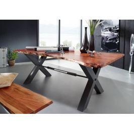 DARKNESS Étkezőasztal 200x100cm X-lábak - fekete