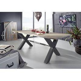 DARKNESS Étkezőasztal 180x100 cm - fekete lábak, szürke, akác