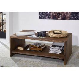 WOODLAND Dohányzóasztal polccal 120x70 cm - sötétbarna, akác