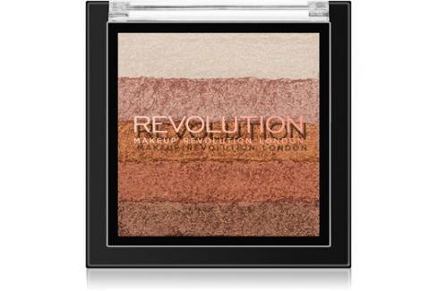 Makeup Revolution Shimmer Brick bronzosító és élénkítő 2 az 1-ben árnyalat Bronze Kiss 7 g Arcpír