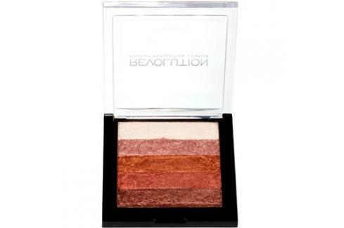 Makeup Revolution Shimmer Brick bronzosító és élénkítő 2 az 1-ben árnyalat Rose Gold 7 g Arcpír